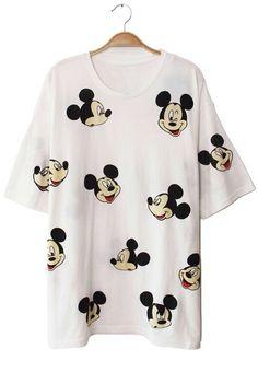 White Short Sleeve Mickey Print T-Shirt 19.83