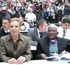 Empress Farah Pahlavi with Lech Walesa of Poland and the Rev. Desmond Tutu at left