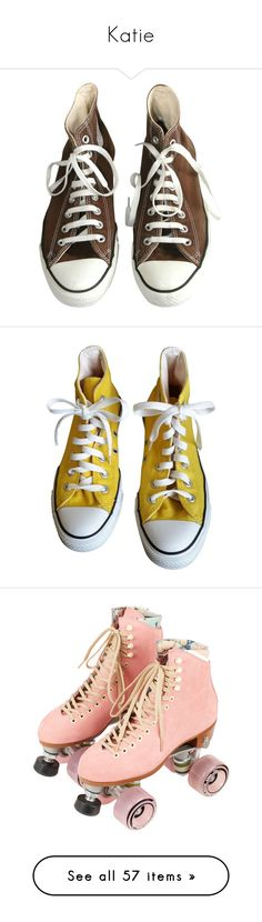 """""""Katie"""" by denikez ❤ liked on Polyvore featuring shoes, sneakers, converse, shoes - sneakers, converse sneakers, converse shoes, brown sneakers, brown shoes, converse trainers and yellow"""