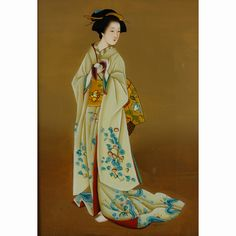 Japanese reverse painted figure of a Geisha. Geisha, Magazine Covers, Paintings, Japanese, Patterns, Disney Princess, Disney Characters, Chinese, Block Prints