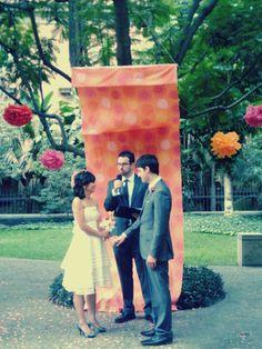 Elaine ~ Silk organza tea length wedding dress with crumb catcher and pleated sash by Trang Chau.