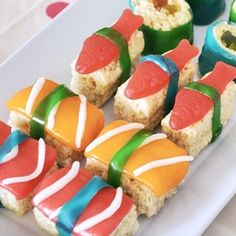 All the details from my daughter's Japanese-themed birthday party, including how to make this sweet sushi.
