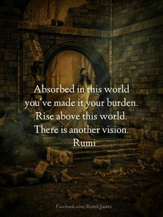 Rise above this world. There is another vision - Rumi