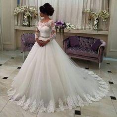 264.00$  Watch now - http://vilmp.justgood.pw/vig/item.php?t=fmy9ke11290 - 2017 Hot Sale Sweet Angel Beaded A Line Long Sleeve Lace Wedding Dress 264.00$