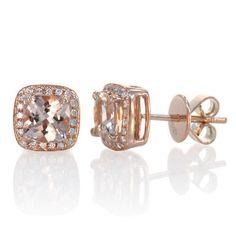 Been crushing so hard on these earrings.   Rose Gold Morganite Earrings Cushion Cut Halo Diamond Cushion Morganite Stud Earring. $550.00, via Etsy.