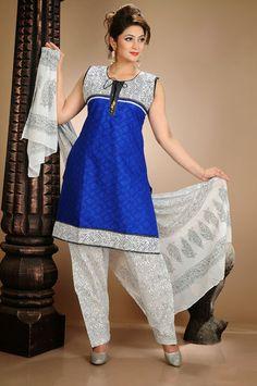 USD 53.61 Blue Cotton Punjabi Salwar Kameez   34499