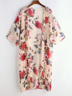 Kimono de chifón con estampado floral-(Sheinside)