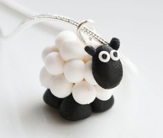 Miniature Sheep Necklace Fimo Polymer Clay by SweetnNeatJewellery
