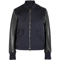 Tim Coppens Lace-up leather and twill bomber jacket (4.370 BRL) via Polyvore featuring outerwear, jackets, midnight blue, twill bomber jacket, genuine leather jackets, zipper jacket, leather jackets e blouson jacket