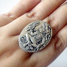 Colgante colgante cadenas de plata 925 Old School rockabilly Onyx tribal tatuaje Style