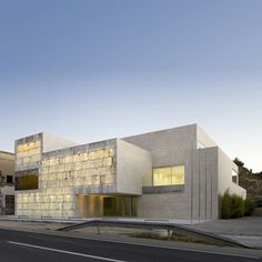 Light permeates this civic hall designed by Magén Arquitectos, southern Spain: alabaster blocks to facade.