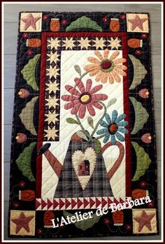 Colchas Country, Country Quilts, Applique Quilt Patterns, Wool Applique, Small Quilts, Mini Quilts, Quilting Projects, Quilting Designs, Motifs D'appliques