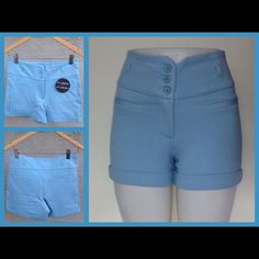 ✂️Reduced!✂️ 3 Button Style Shorts in •BLUE• Brand new 3 button style shorts with high waistband....has belt loops for skinny belt if desired. These are very stretchy and extremely comfortable! Sizes are S fitting 2-4, M fitting 4-6 and large fitting 6-8. Material blend is 67% Rayon 30% Nylon 3% Spandex. This listing is for Blue. Brand NewNo TradesComment which size you would like for a personalized listing. ‼️PRICE IS FIRM‼️**They're really not my size but wanted to show how they looked…