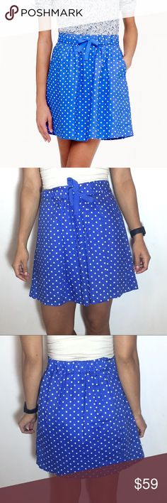 "J. Crew Polka Dot Boardwalk Linen Skirt NWT J. Crew Boardwalk Linen Skirt in Polka dot. -Linen. -Sits at waist. -18"" long. -Falls above knee. -Elastic waistband with drawstring. -Slant pockets. -Lined. -Brand new!  NO Trades. Please make all offers through offer button. J. Crew Skirts"