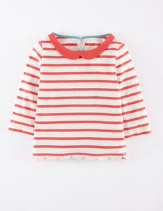 stripey long-sleeved top with Peter Pan collar/ Mini Boden