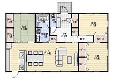 家事動線に配慮した平屋の間取り図 | 平屋間取り