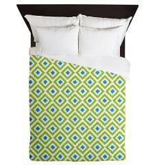Blue and Green Diamonds Ikat Pattern Duvet Cover #bedding #bedroom #decor #homedecor #interior #design