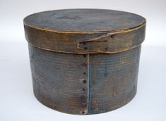 Sabbathday Lake Village Maine Shaker Pantry Box Original Blue Gray Painted Surface
