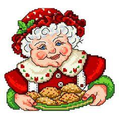 Mrs Claus - Christmas cross stitch pattern designed by Ursula Michael. Category: Santa.