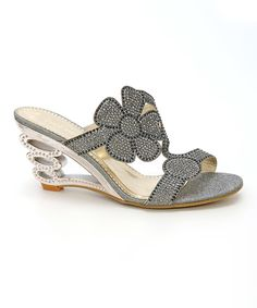 Loving this Simply Couture Gray Floral Rhinestone Mule on #zulily! #zulilyfinds
