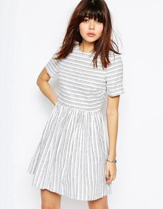 ASOS | ASOS Natural Fibre Stripe Skater Dress at ASOS