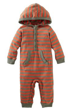 Tea Collection 'City Stripe' Hooded Henley Romper
