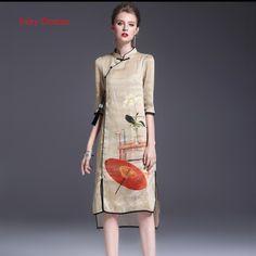 Fairy Dreams Women Chinese Dress 2017 New Style Spring Summer Dresses Print Cheongsam Plus Size Clothing 2XL Vestido De Festa