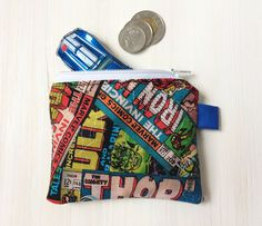 Marvel Comics Coin Pouch - Comic Book Fan Gift - Change Purse - Thor - Hulk - Superhero Collage - Hot Wheels Pouch - Boys Guys Gift by BlackcatmeowDesigns on Etsy