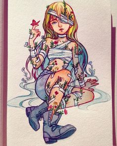 Flower Wounds by Qinni Kpop Drawings, Anime Drawings Sketches, Cute Drawings, Qinni, Character Art, Character Design, Vent Art, Marker Art, Manga