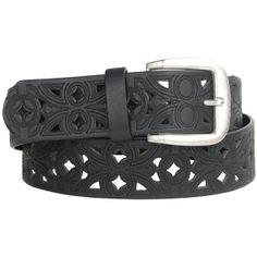 Belgo Lux Black Faux Leather Cut Out Vegan Belt for Women