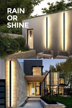 Backyard Lighting, Outdoor Wall Lighting, Outdoor Walls, Lighting Ideas, Dream House Exterior, Exterior Lighting, Modern House Design, Exterior Design, Future House