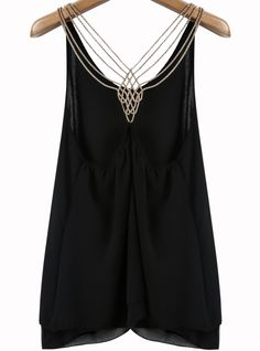 Black Metal Spaghetti Strap Chiffon Vest 14.67