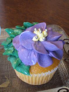 Violet Flower Cupcake
