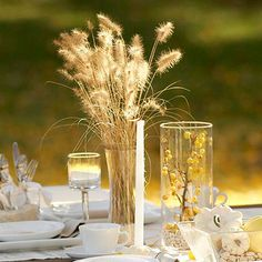 Use ginkgo leaves, crab apples, and wheat when decorating for your next fall get-together.