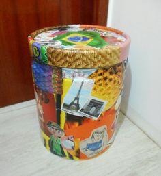 Passo a passo - como customizar barril/lata para organizar e decorar