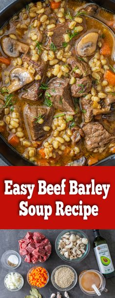 Beef Barley Soup is comfort food in a bowl. Healthy, filling and affordable, this nutritious dish is made in one pot and reheats amazingly. Easy Soup Recipes, Easy Dinner Recipes, Easy Meals, Cooking Recipes, Healthy Recipes, Chili Recipes, Cooking Ideas, Yummy Recipes, Breakfast Recipes