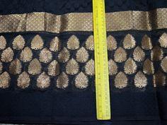 Indian silk brocade fabric by the yard Black Indian Chanderi