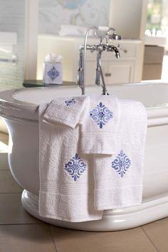 Embroidered bath towels for your elegant home. Shop now at jacarandaliving.com