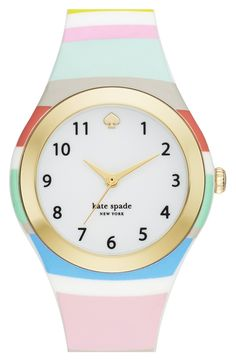 Colorful stripes and gold details add a vibrant touch to this easy to wear Kate Spade watch.