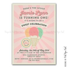 Vintage Ice Cream Parlor / Ice Cream Shop invitation - Ice Cream Party v.3 - Customizable - Print your own on Etsy, $15.00
