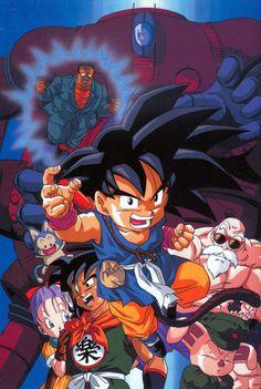 Goku, Bulma, Hatchan, Yamcha, Puar, Roshi, and Oolong