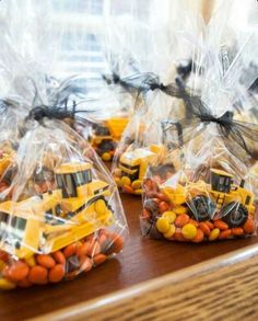 Could just pile candy on the tables instead of in bags and have the loaders/bulldozers pushing them