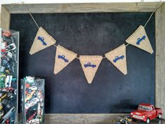 Rustic Old Truck Burlap Banner Baby Boy Nursery Triangle Pennant Bunting by SweetThymes, $26.00