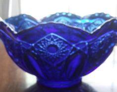 Large Antique Cobalt Blue Bowl Pressed Cut Glass Ruffle Edges Centerpiece