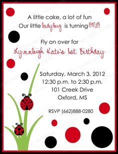 10 Lady Bug Birthday Invitations with Envelopes.  Free Return Address Labels. $7.99, via Etsy.