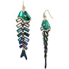 Betsey Johnson Glitter Reef Fish Linear Earrings ($65) ❤ liked on Polyvore featuring jewelry, earrings, aqua, earring jewelry, linear earrings, betsey johnson jewellery, aqua jewelry and fish hook jewelry
