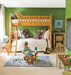 Natural oats Boys' Bedroom.  Frame out a black board with the table and chairs in front of it.