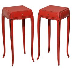 Red Lacquered End Tables * Jean Dunand