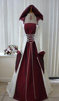 Medieval Pagan Wedding Hooded Dress Cream & Burgundy, Dawns Medieval Dresses