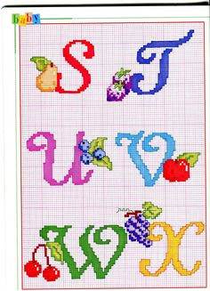 Sweets and Fruit Alphabet Cross Stitch Patterns Alfabeto punto croce con cose da mangiare dolci gelati Cross Stitch Alphabet Patterns, Cross Stitch Letters, Cross Stitch Charts, Stitch Patterns, Embroidery Fonts, Hand Embroidery, Christmas Alphabet, Monogram Alphabet, Letters And Numbers